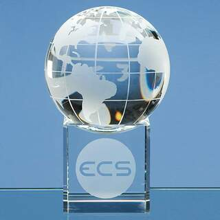 8cm Optical Crystal Globe on a Clear Crystal Base