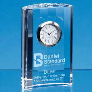 11cm Optical Crystal Scalloped Clock