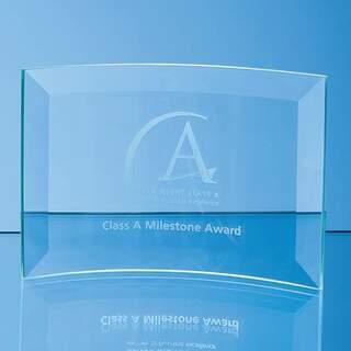 10cm x 14.5cm x 5mm Jade Glass Bevelled Crescent