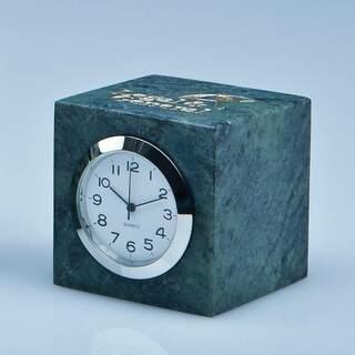 5cm Green Marble Bevel Edged Cube Clock