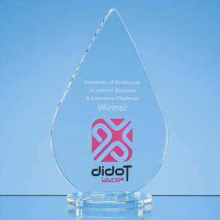 18cm x 11.5cm x 10mm Clear Glass Teardrop Award