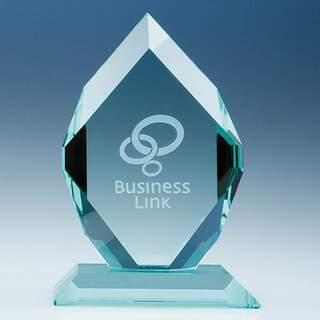 16.5cm x 12cm x 19mm Jade Glass Royal Diamond Award