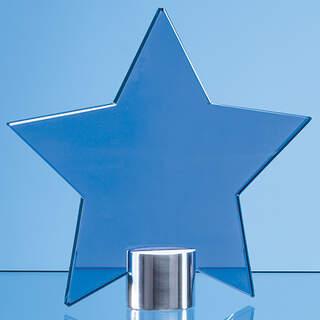 11.5cm Cobalt Blue Glass Star Mounted on a Brushed Aluminium Base