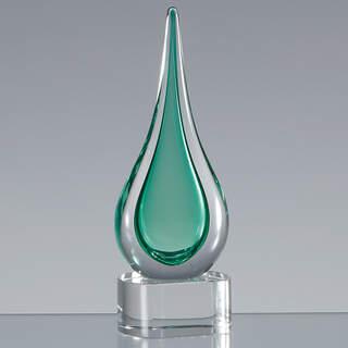 18cm Handmade Crystal Emerald Green Teardrop Award