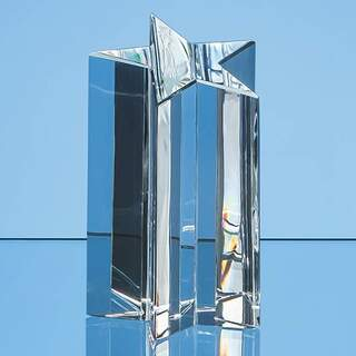 16cm Optical Crystal 5 Pointed Star Column Award