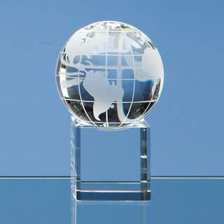 6cm Optical Crystal Globe on a Clear Crystal Base