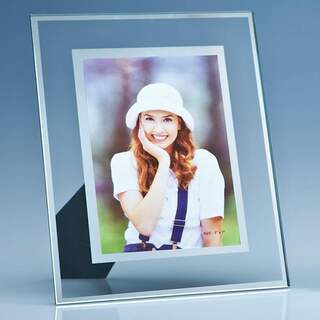 Clear Glass Frame with a Mirror Inlay for 5inchinch x 7inchinch Photo  V